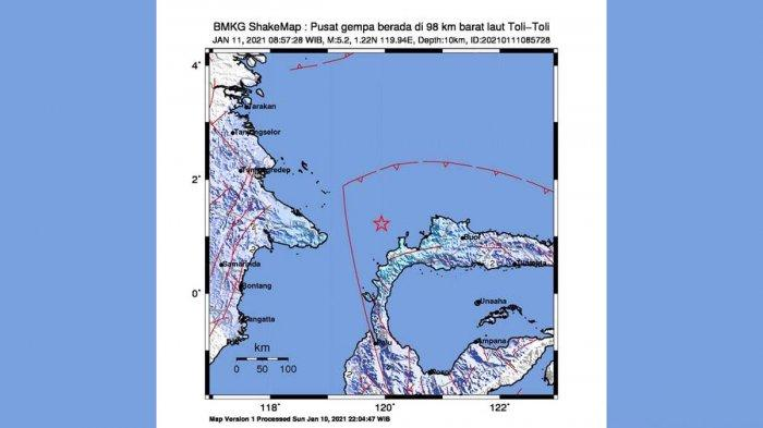 Gempa Hari Ini 2021, Gempa Mag 5,2 SR Guncang Toli Toli Senin Pagi 08.57 WIB, Berikut Info BMKG
