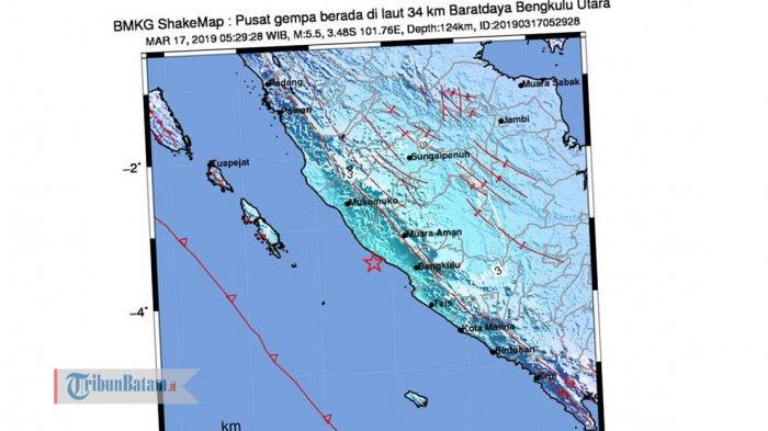 GEMPA HARI INI - Gempa 5.5 SR Guncang Bengkulu Minggu (17/3) Pagi Jam 05.29 WIB, Simak Info BMKG