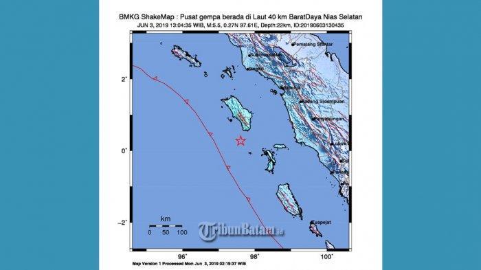 GEMPA HARI INI, Setelah Gempa 6.0 SR, Nias Selatan Kembali Diguncang Gempa 5.5 SR Jam 13.04 WIB