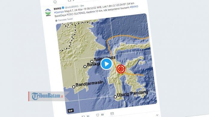 GEMPA HARI INI - Gempa 5.7 SR Guncang Poso Minggu (24/3) Jam 08.32 WIB, Berikut Info BMKG