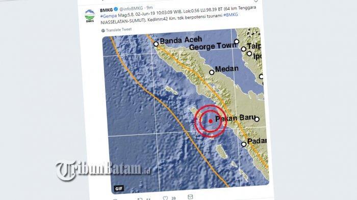 BREAKING NEWS Gempa 5.8 SR Guncang Nias Selatan, Minggu (2/6) Jam 10.03 WIB, Berikut Info BMKG