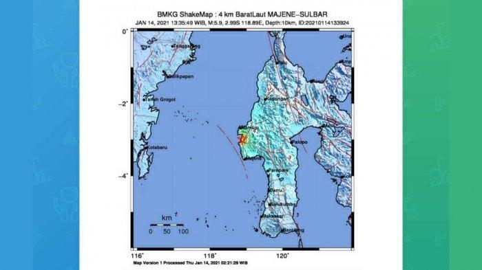 GEMPA HARI INI 2021 Gempa 5,9 SR Guncang Majene Sulbar Kamis Siang 13.35 WIB, Simak Info BMKG