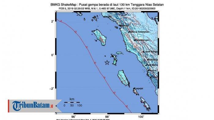 INFO GEMPA HARI INI - Gempa 6.1 SR Guncang Nias, Selasa Dinihari Jam 02.29 WIB, Terasa di Padang