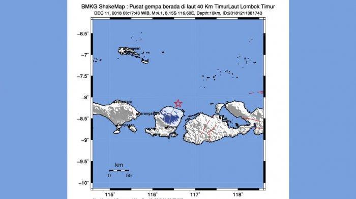 INFO GEMPA HARI INI - BMKG Catat Gempa Magnitudo 4.1 Guncang Lombok Utara Selasa Pagi Jam 08.17 WIB