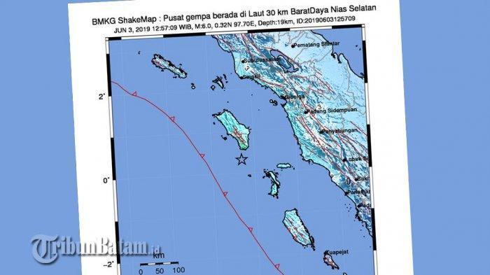 BREAKING NEWS. Gempa 6.0 SR Guncang Nias Selatan Senin (3/6) Siang Jam 12.57 WIB, Berikut Info BMKG