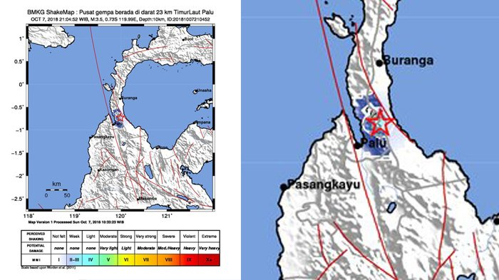 UPDATE INFO GEMPA HARI INI - BMKG Catat Gempa Magnitudo 3,5 di Palu Minggu Malam Jam 21.04 WIB.