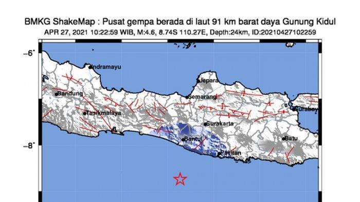 Gempa Hari Ini, Gempa Mag 4,6 Guncang Gunung Kidul Yogyakarta Selasa 10.22 WIB, Simak Info BMKG
