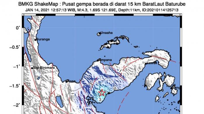 Gempa Hari Ini 2021, Gempa 4,3 SR Guncang Baturube Morowali Utara Sulteng, Ini Penjelasan BMKG