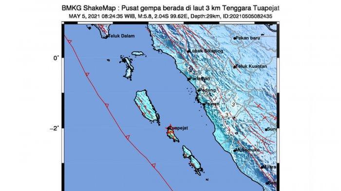 Gempa Hari Ini 2021, Gempa Mag 5.8 Tuapejat Mentawai Sumbar, Rabu 08.24 WIB, Simak Info BMKG