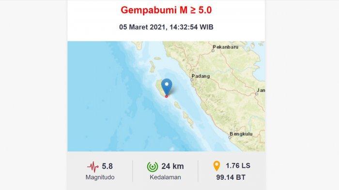 Gempa Hari Ini 2021, Gempa Mag 5.8 Guncang Mentawai Sumbar Jumat Siang, Simak Info BMKG
