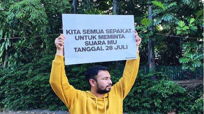 Raffi Ahmad minta suaramu tanggal 28 Juli.