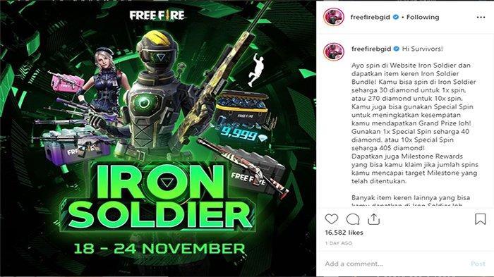 Auto Spin! Ada Hadiah Karakter Laura hingga Skin Senjata di Iron Soldiers Free Fire