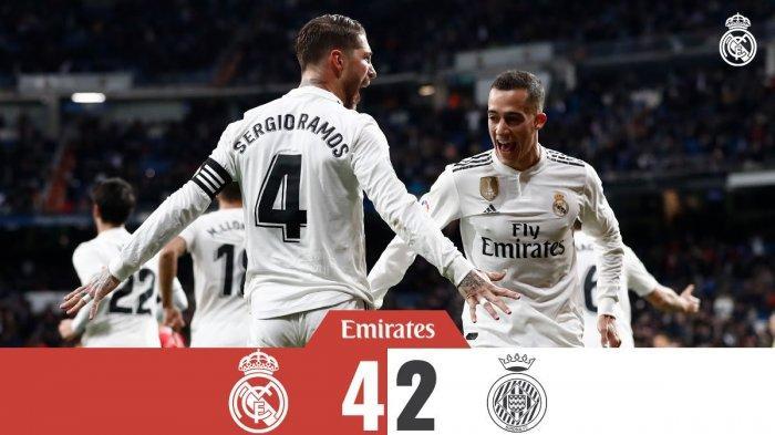 Hasil Copa Del Rey Liga Spanyol Real Madrid vs Girona - Madrid Menang, Dua Gol dari Sergio Ramos