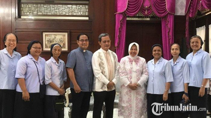 Wako Surabaya Tri Rismaharini Sampaikan Pesan Idul Fitri saat Terima Silaturahmi Biarawati Katolik