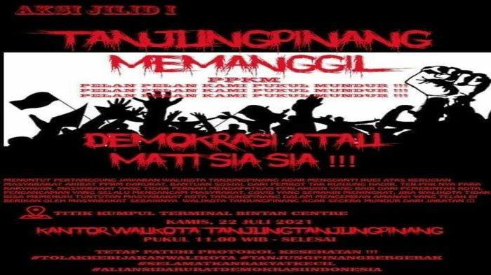 PPKM Level 4 Berlaku di Tanjungpinang, Bakal Ada Demo Wali Kota Kamis 22 Juli 2021