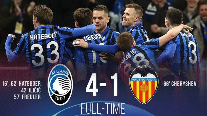 Hasil Liga Champions Atalanta vs Valencia, Kejutan Atalanta Berlanjut, Kalahkan Valencia 4-1