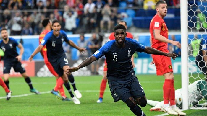 Gol! Samuel Umtiti Cetak Gol. Skor Sementara Semifinal Perancis 1-0 Belgia