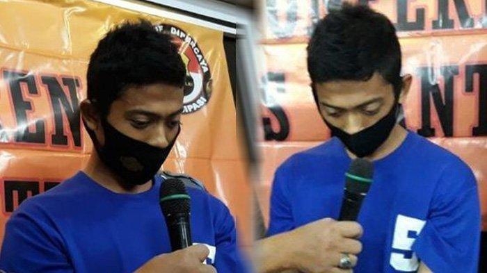 NK Pelaku Pembunuhan Sepupunya sendiri B warga Bantul di Mapolres Bantul Rabu (31/3/2021)