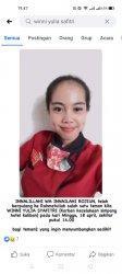 Winni Yulia Safitri, atau Winni Korban kecelakaan maut yang ditabrak mobil dinas berplat merah
