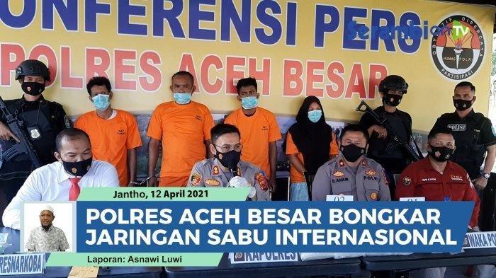 Sat Resnarkoba Polres Aceh Besar, membongkar sindikat peredaran narkoba jaringan internasional dengan mengamankan hampir tujuh kilogram sabu bersama empat tersangka di tiga lokasi pada Kamis dan Jumat, 8-9 April 2021