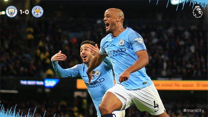 Hasil Akhir Manchester City vs Leicester City, Gol Vincent Kompany Bawa The Citizen Unggul