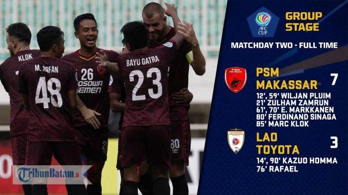 Hasil dan Klasemen Grup H AFC Cup 2019 Setelah PSM Makassar dan Kaya FC Pesta Gol