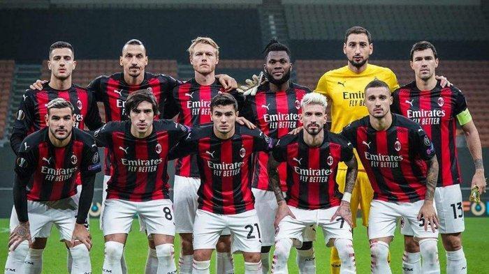Skuad AC Milan saat pertandingan melawan Lille di Liga Europa 2020/2021