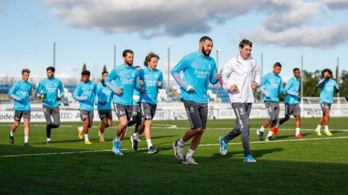 Real Madrid vs Getafe - Skuad Real Madrid menjalani latihan sebelum pertandingan melawan Getafe, Selasa (9/2/2021) malam atau Rabu dinihari WIB.