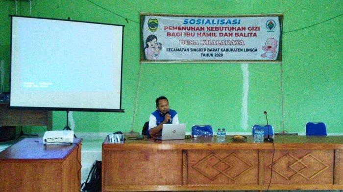 Sosialisasi mencegah stunting di Desa Kuala Raya, Kecamatan Singkep Barat, Lingga, Provinsi Kepri, Selasa (29/12).