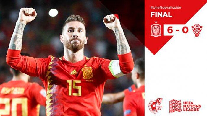 Hasil UEFA Nations League Spanyol vs Kroasia. Spanyol Pesta 6 Gol ke Gawang Finalis Piala Dunia