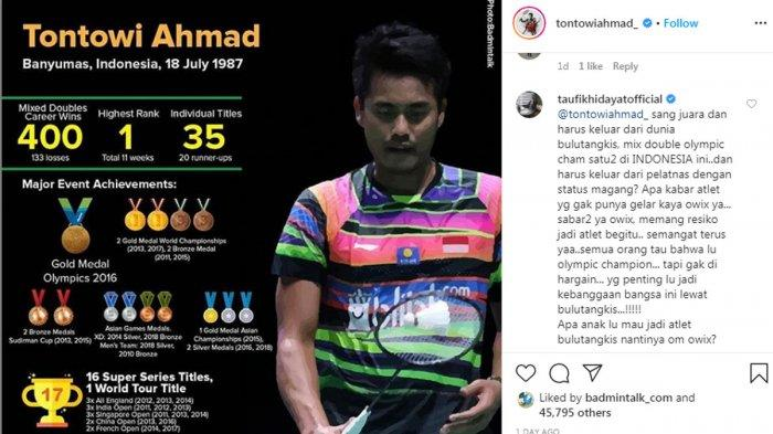 Tontowi Ahmad Mundur dari Bulutangkis Indonesia, Taufik Hidayat Tulis Komentar Pedas, Sindir PBSI?