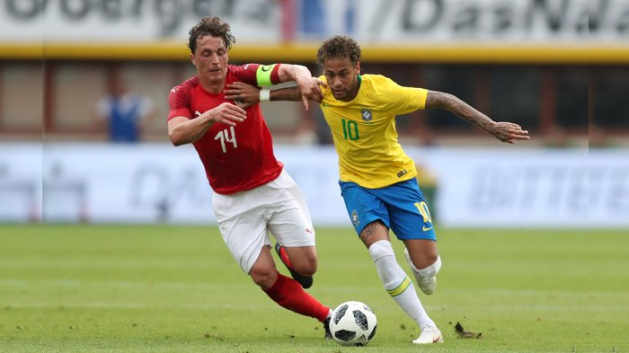 Austria vs Brazil - Gocekan Neymar Bikin Lawan Jatuh. Brazil Menang 3-0