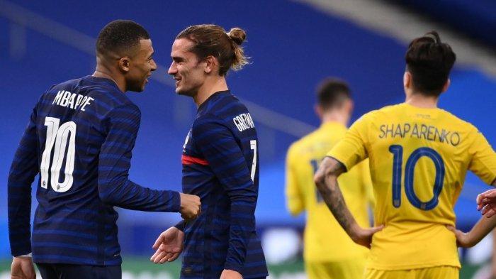 Hasil Prancis vs Ukraina, Les Bleus Pesta 7 Gol, Kylian Mbappe, Griezman, Olivier Giroud Cetak Gol