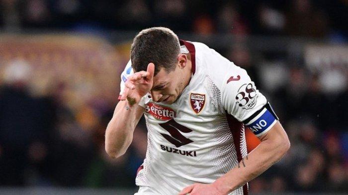 Striker Torino Andrea Belotti mencetak 2 gol ke gawang AS Roma, Minggu (5/1/2020)