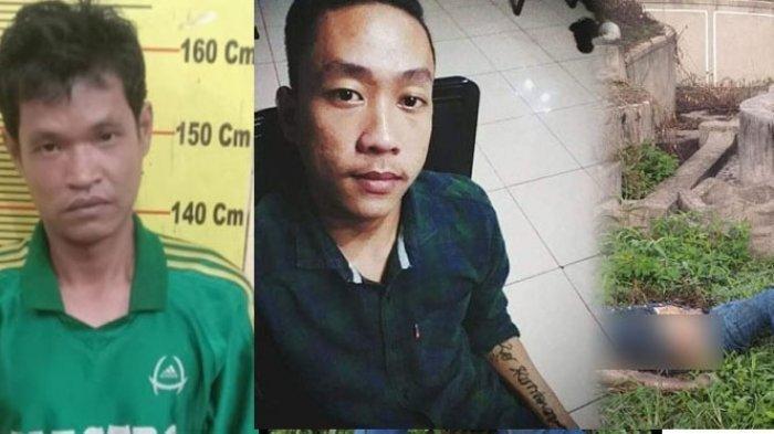 Kolase foto tersangka kasus pembunuhan Hidayat, korban Eko Kurniawan semasa hidup, saat penemuan jasad korban di Kuburan China Delitua.