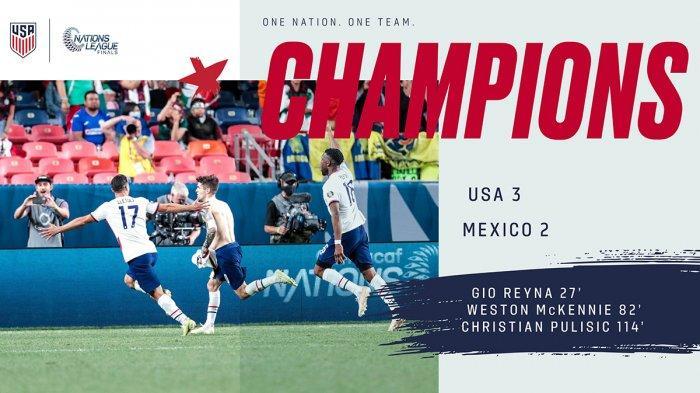 Hasil Amerika Serika vs Meksiko, Pulisic Cetak Gol Penentu, AS Juara Nations League Concacaf