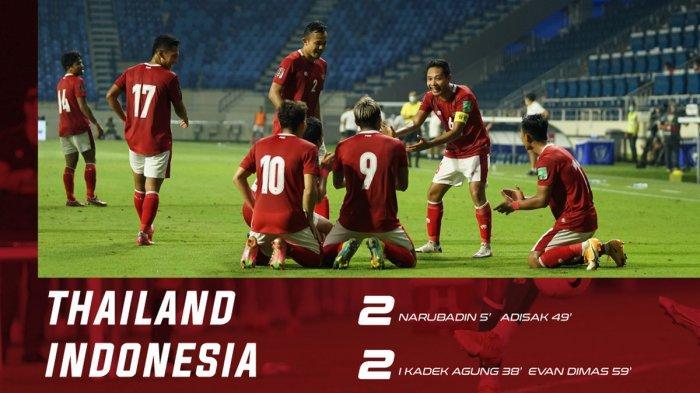 HasiL Timnas Indonesia vs Thailand - Timnas Indonesia bermain imbang 2-2 lawan Thailand di kualifikasi Piala Dunia 2022, Kamis (3/6/2021)