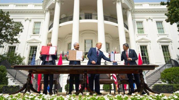 UEA, Bahrain dan Israel Tandatangani Perjanjian Damai Abraham Accord, Trump Jadi Pusat Perhatian