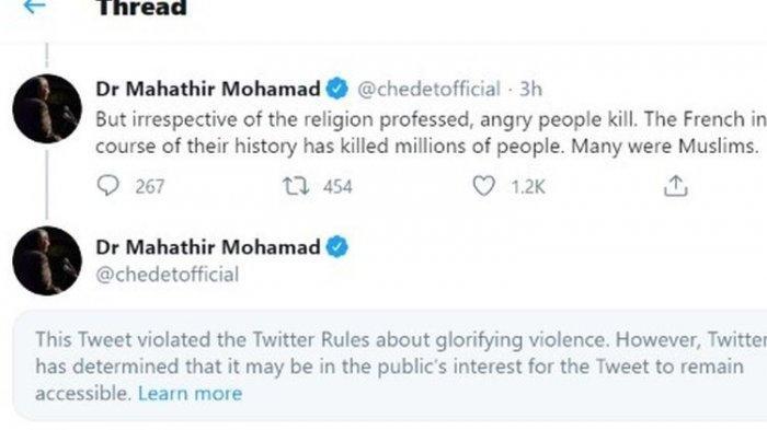 Tangkapan layar dari twit eks PM Malaysia Mahathir Mohamad, yang dilabeli Twitter karena mengagungkan kekerasan