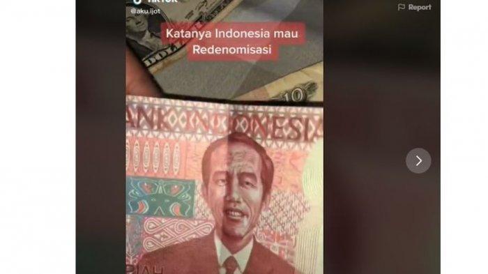 VIRAL Uang Redenominasi Gambar Jokowi, Rp 100.000 Menjadi Rp 100, Simak Penjelasan Bank Indonesia