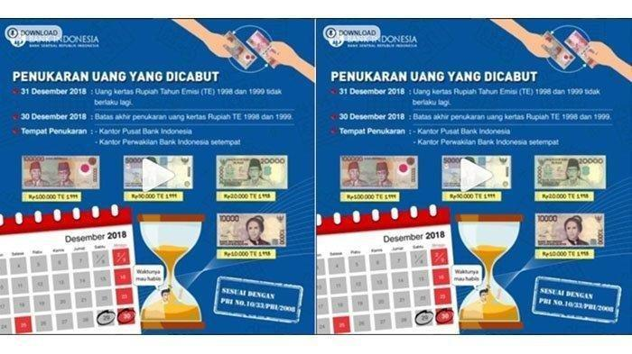 Tak Berlaku Lagi Mulai 31 Desember 2018, Inilah Daftar Uang Kertas yang Bakal Dicabut Bank Indonesia
