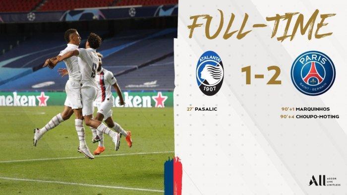 Hasil Liga Champions Atalanta vs PSG, Takdir Atalanta, 2 Gol Injury Time Antar PSG ke Semifinal UCL
