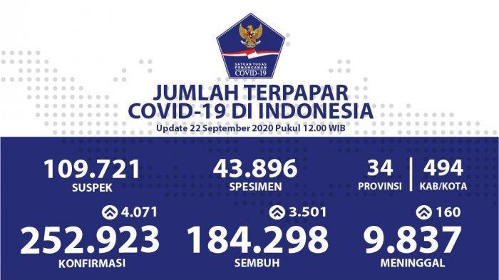 Bertambah 4.071 Pasien Positif Corona, Covid-19 di Indonesia Tembus 252.923 Kasus