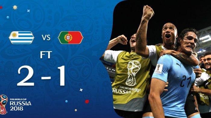 Hasil Uruguay vs Portugal - 2 Gol Cavani Menangkan Uruguay. Ronaldo dkk Pulang