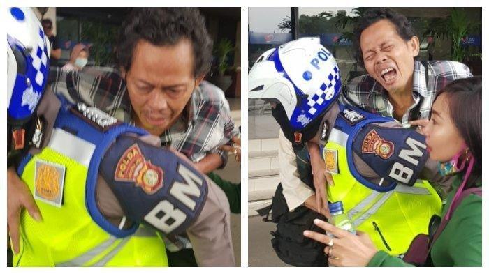 VIRAL Anggota Polisi Gendong Penumpang Transjakarta yang Terkena Serangan Jantung