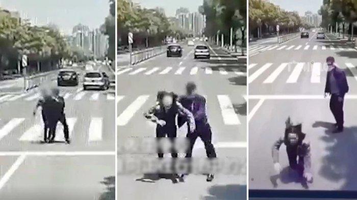 VIDEO Pria Sadis Dorong Pacar ke Arah Bus Melaju Kencang, Alasannya Tak Masuk Akal