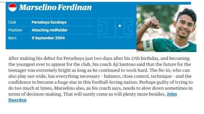 Wonderkid Persebaya Surabaya, Marselino Ferdinan, masuk dalam daftar 60 pemain muda terbaik 2021 versi Guardian.