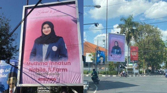 Hadiah Lulus Sidang Skripsi, Foto Mahasiswi Surabaya Ini Terpampang di Baliho