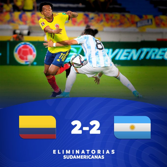 Hasil Kolombia vs Argentina - Argentina ditahan imbang 2-2 Kolombia pada matchday 6 kualifikasi Piala Dunia 2022 Zona Conmebol, Rabu (9/6/2021) pagi WIB.