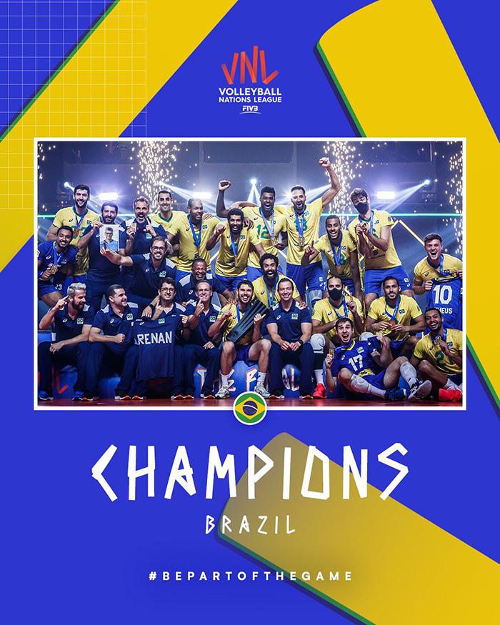 Brazil juara FIVB Men's Volleyball Nations League 2021 setelah mengalahkan Polandia 3-1 di final, Minggu (27/6/2021) malam WIB